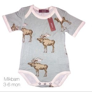 Milkbarn Blue Moose Onesie NEW 3-6 mon